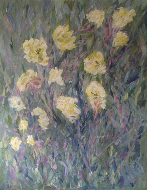 """Evening Primrose Acrylic on canvas, 24"""" x 30"""""""