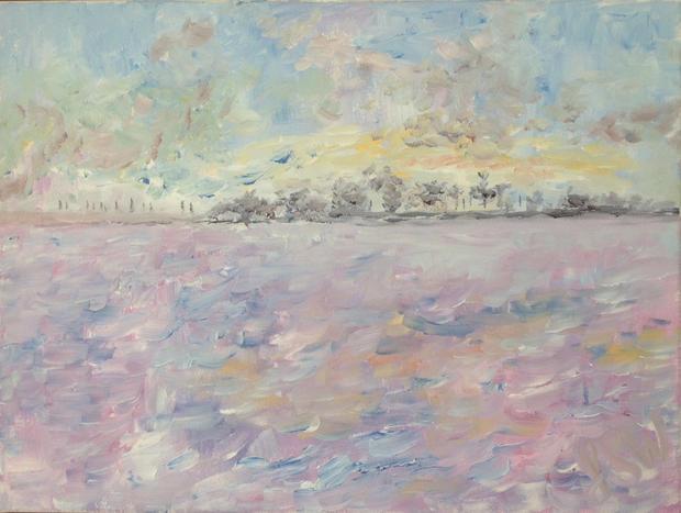 """Sunrise over the East Hills Acrylic on canvas,  16"""" x 12"""""""