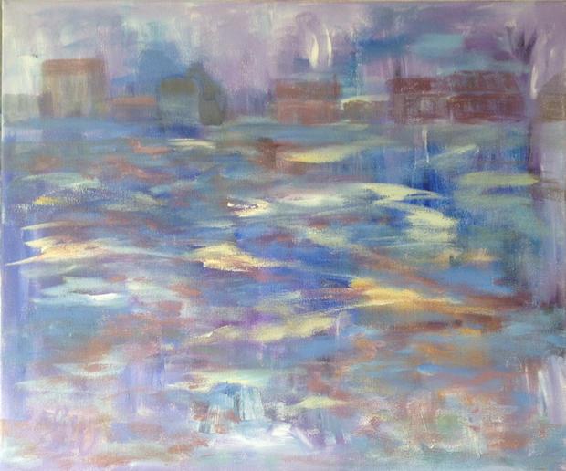 "Evening Sail II Acrylic on canvas,  23"" x 19"""