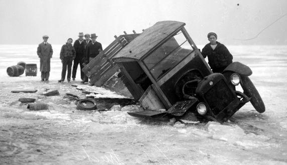 A beer laden truck breaks down on a frozen lake.