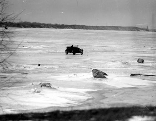 Rum Runner driving across the frozen lake.