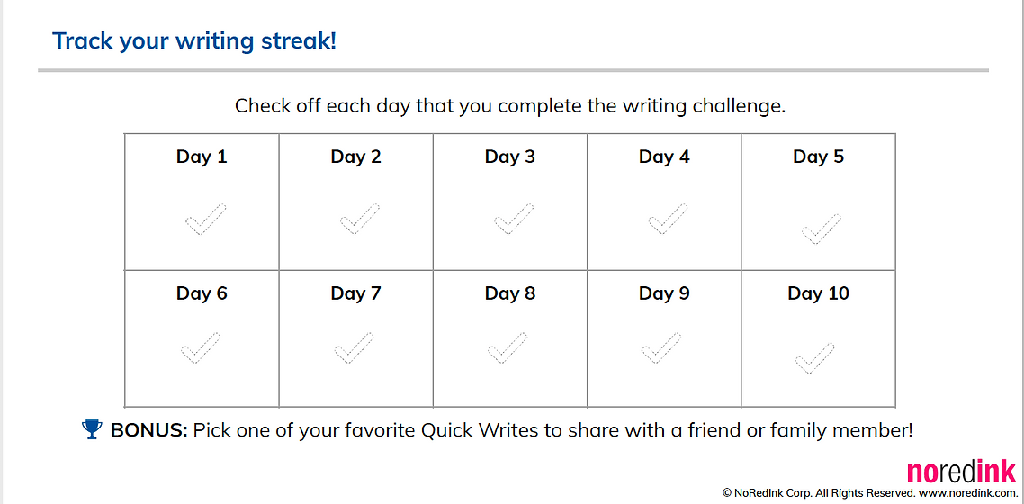No Red Ink posted a 2-week writing challenge for students. 15 minutes of writing for 10 days.