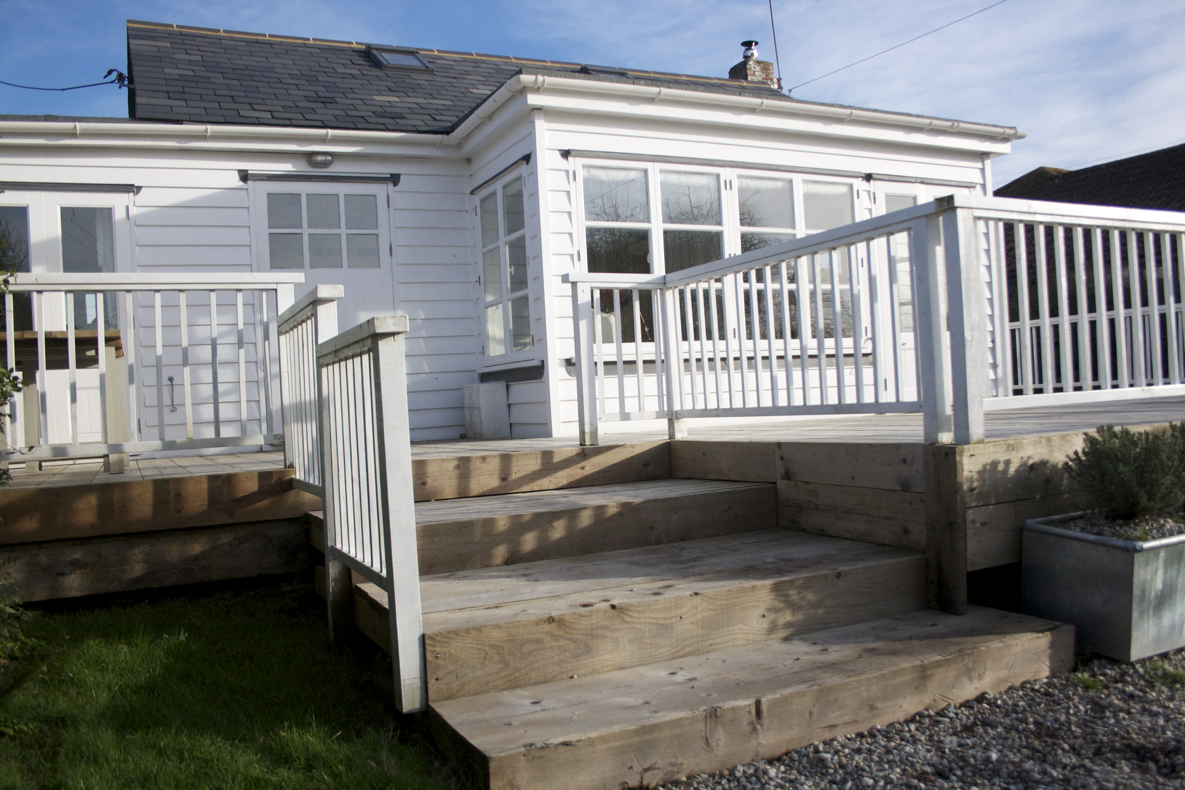Front exterior and decking