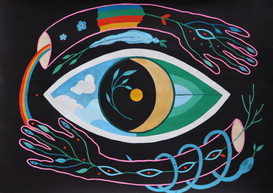 See, jsem, Look deeply within, Acrylic & gouache on paper, 59.4 x 42.0 cm