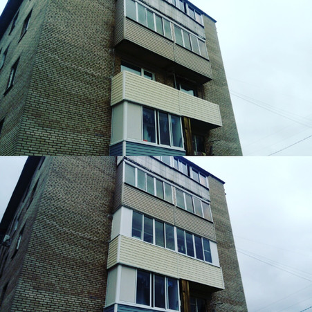 Остекление и внешняя отделка балкона шесть метров