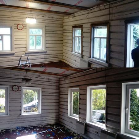 Замена пластиковых окон в старом бревенчатом доме деревня Матино (Курилово)