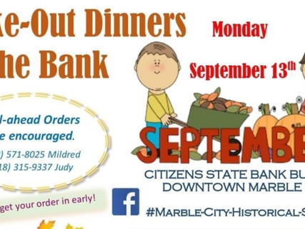 Take-Out Dinners at the Bank today in Marble City