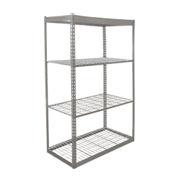 Shelving rack, gray steel with wired decks, on a white background