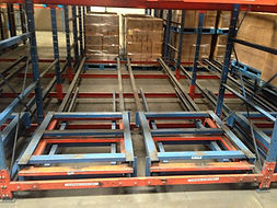 Push back system installed in warehouse empty