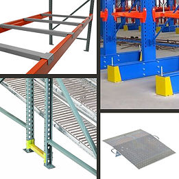 Dock plate, row spacer, racks, rack guard, palet support, span track