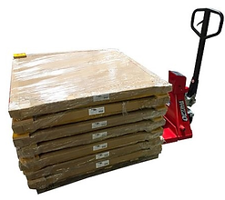Pallet jack scales with pallets