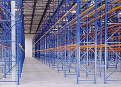Installed blue pallet racking system in warehouse