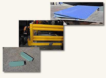 guard rails, dock plates, row spacers