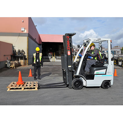 Forklift with a driver and forklift trainer