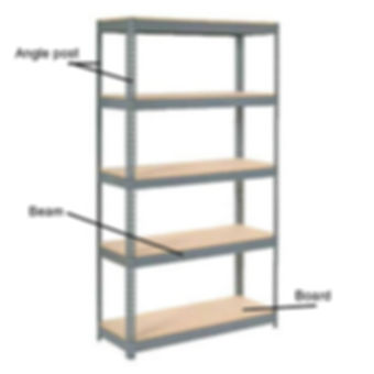 Shelving rack parts/pieces description, explanation, example of angle post, beam and wooden board