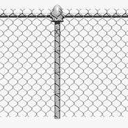 Chain Link Fence example with a poll