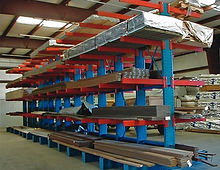 Cantilever racks Roll Formed installed in warehouse with lumber stored on it