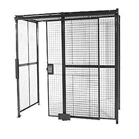 Wirecrafted black cage with a gate with secured lock on a white background