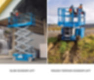 Scissor Lift pictures of slab and rough terrain scissor lift with different tire type