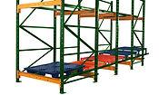 Push back system with racks, carts, rails