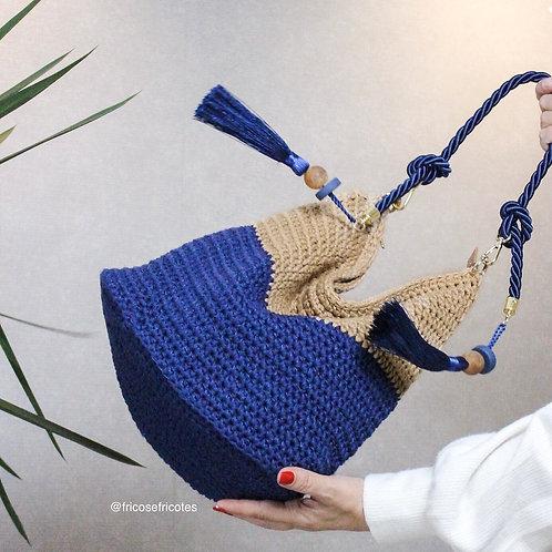 Bolsa Iris marinho /bege com alça de corda e tiracolo de couro
