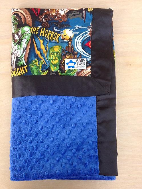 Baby blanket Monsters and royal blue , Receiving Blanket  .