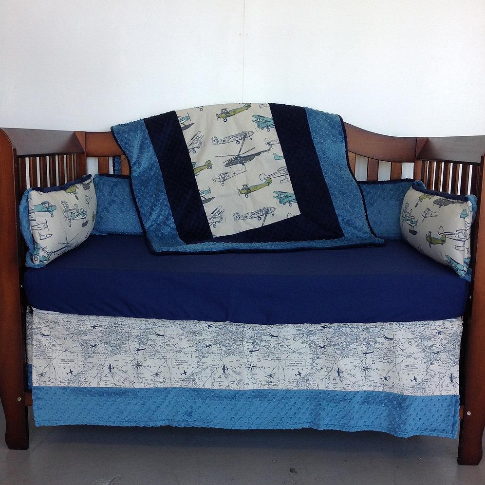 4pc Standard Crib Bedding Set Vintage Airplanes Navy