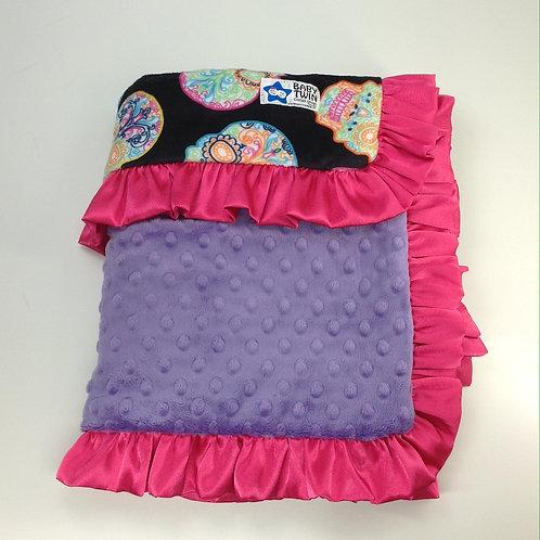 30x36 Baby Blanket- Sugar Skulls/ Lavender
