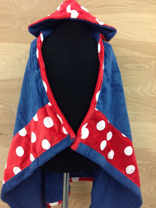 Hooded Towels- Red Minky Dot/ Navy