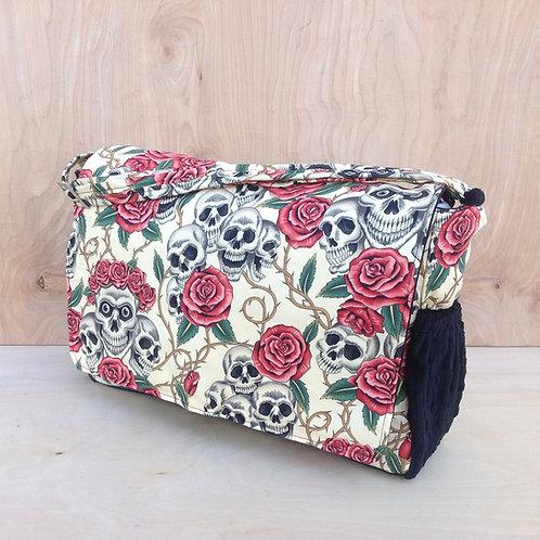 Diaper Bag- Tan Skulls and Roses