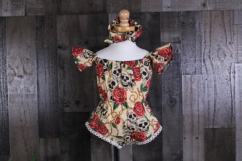 Tan Skulls and Roses Baby Romper