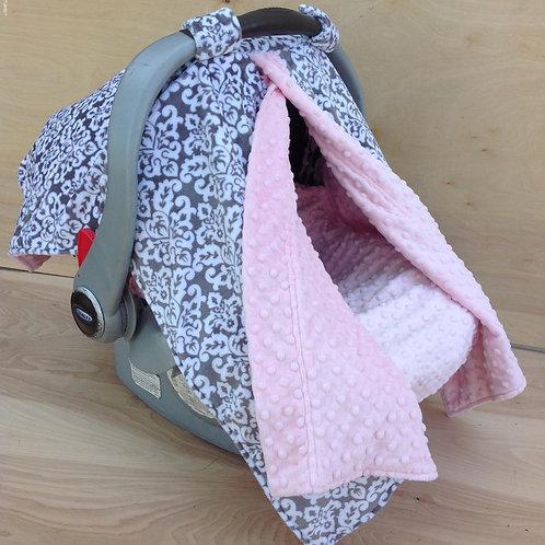 Grey Damask/ Pink