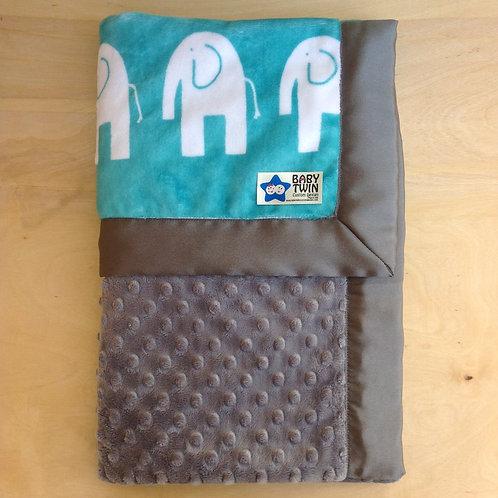 baby blanket elephant teal , receiving blanket elephant teal .