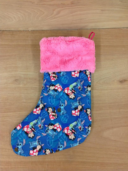 Christmas Stocking- Lilo and Stich/ Fuschia *LIMITED TIME*