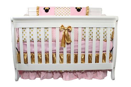 4pc Standard Crib Set. Minnie Mouse Crib Set. Minnie Mouse. Gold Polka Dots