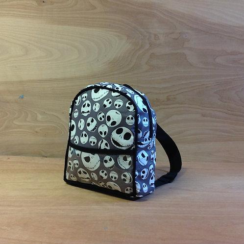 Kid's Mini Backpack-Grey Jack Skellington Heads/ Black