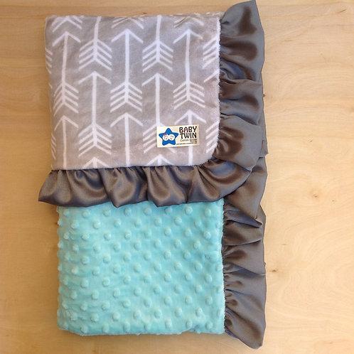 Baby blanket  Grey Archer/ Mint
