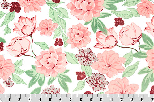 Melody Pink Flowers. Pink Flowers Minky Fabric