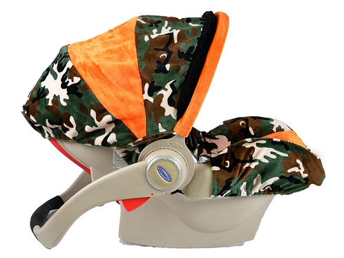 Infant Car Seat Cover-Camo/ Orange
