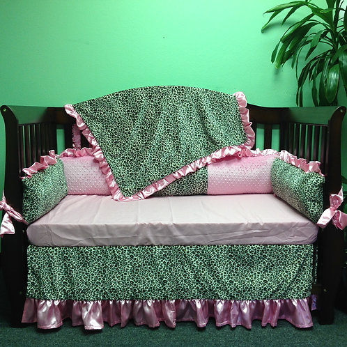 Crib set Pink Cheetah,Nursery bedding set Cheetah,Leopard baby bedding.