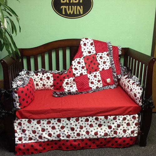 Crib set Lady Bug,Nursery bedding Lady bug.