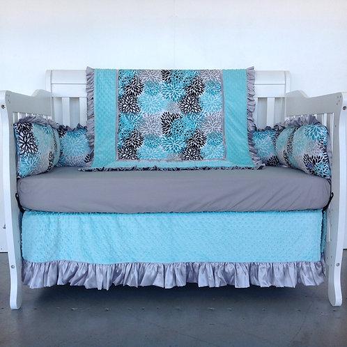 Crib Bedding Set Premier Bloom Mint,Crib set for boy,Nursery Bedding.