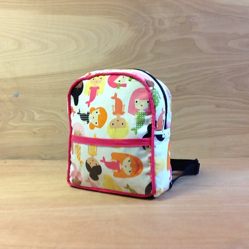 Kid's Mini Backpack- White Mermaids/ Fuschia