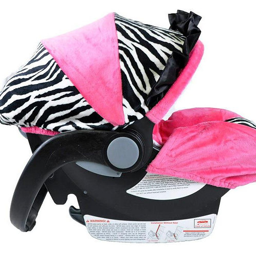 Infant Car Seat Cover- Zebra/Fuchsia