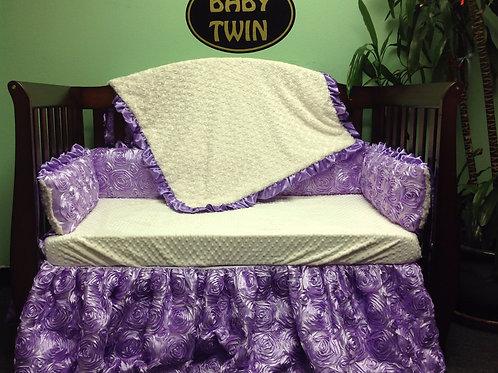 Crib set Purple Rosette,Nursery bedding Rosette,Lavender, Satin, Rosette Purple.