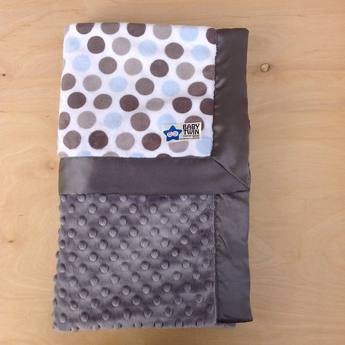 Baby blanket Blue Silver Dot , Receiving blanket , Car seat blanket .