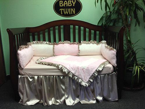 Nursery Bedding Baby Pink and Gold,Crib set pink ,Crib set Gold minky.