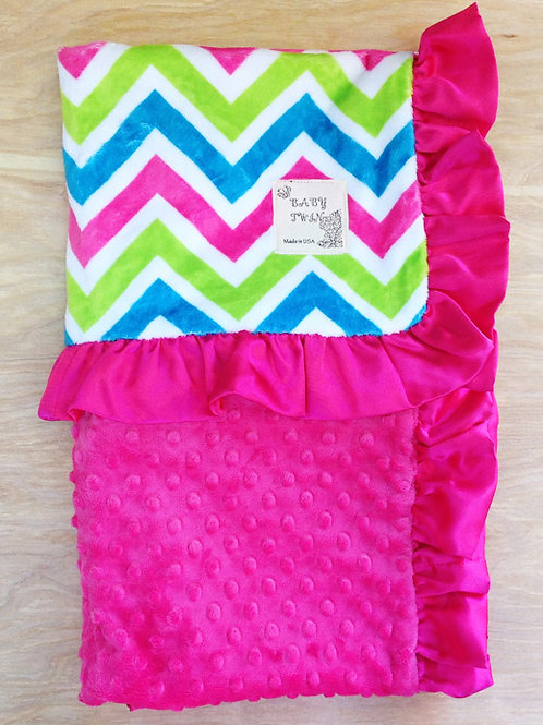 Hot Pink, Blue, Green Chevron/ Hot Pink