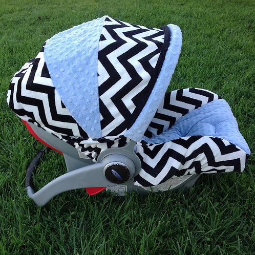 Infant Car Seat Cover-Blk/White Chevron/ Blue