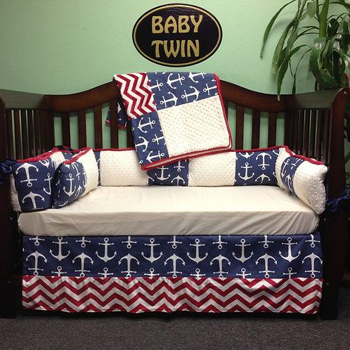 Anchor Crib Set,Nursery Anchor,Crib set Anchor, Pirates Crib set.